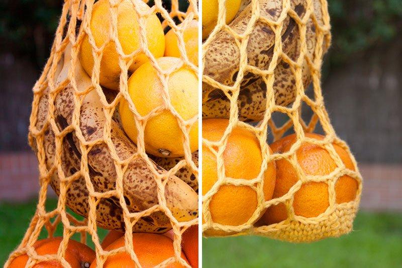 Cómo hacer una bolsa de red de ganchillo para el mercado de frutas y verduras