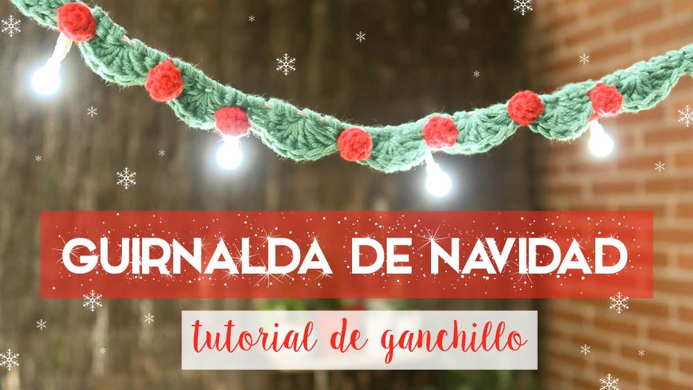 guirnalda de navidad con ganchillo y luces - Guirnalda De Navidad