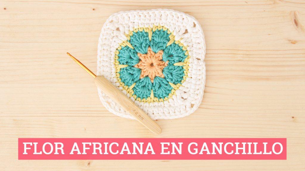 Cuadrado flor africana en ganchillo