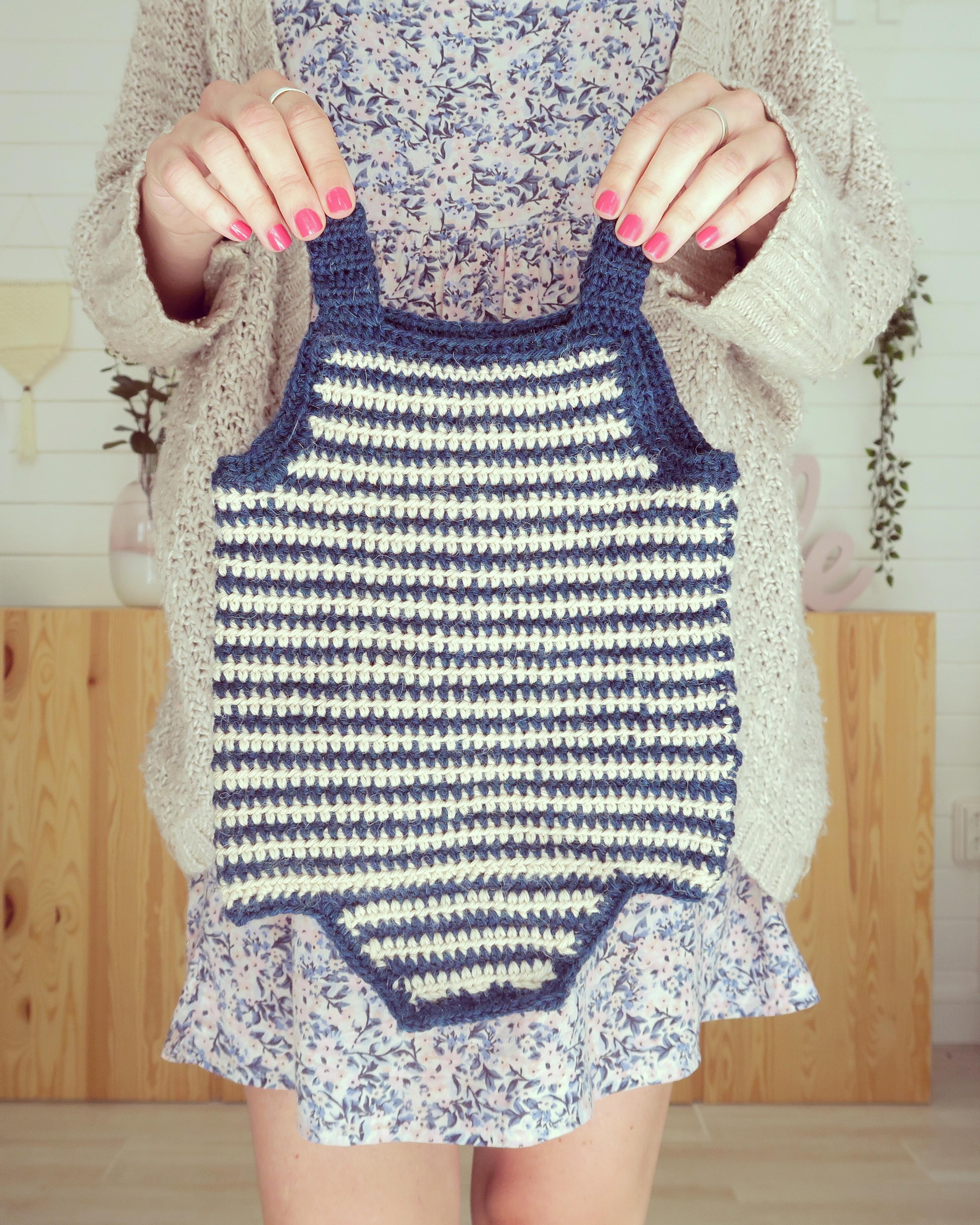 pelele ganchillo bebe marta bluu